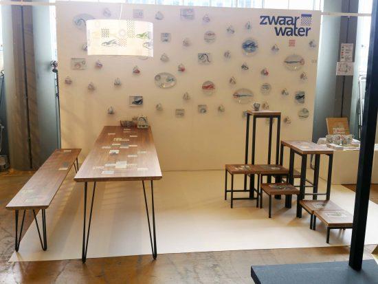 Stand op Design District 2017 ontwerp beurs van Zwaar Water, de meubels en het servies zijn na 9 juni in de winkel.