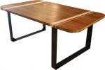 Asymmetrische tafel, caramel desnsiry (geperst) bamboe, ingelegd met naturel bamboe strepen. Frame van 10 x 1 cm staal strip. ontwerp: happy-go-lucky. Kan ook in andere afmetingen en materialen.