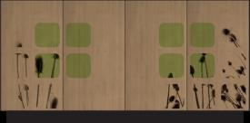 Speciaal obweorpen dressoir met bamboe deuren en distel zeefdruk, van Happy-go-lucky.
