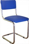 Valk Retro stoel, verchroomd frame zonder armleuning, gestoffeerd