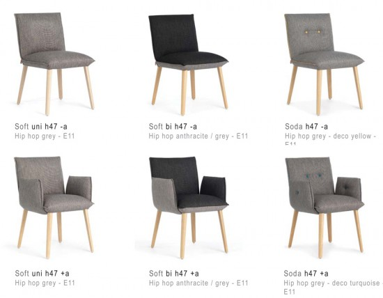 Van links naar rechts: stoelen in de uitvoeringen Soft uni, Soft duo en Soda.